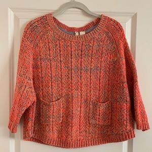 Anthropologie neon poncho style sweater